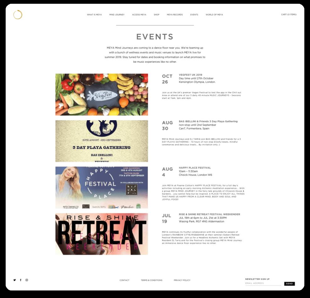 Meya Website Events